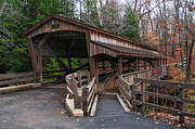 Historic Bridges Art Prints - Lanterman Falls Covered Bridge Print by Guy Whiteley