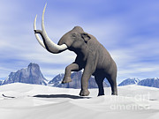 Snow-covered Landscape Digital Art Prints - Large Mammoth Walking Slowly Print by Elena Duvernay