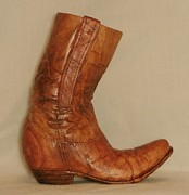 Wood Carving Sculpture Posters - Large Old Cowboy Boot Poster by Russell Ellingsworth
