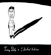 Larry Drawings - Larry Doby Cleveland Indians by Jay Perkins