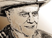 Cowboy Pencil Drawing Prints - Larry Hagman in 2011 Print by J McCombie