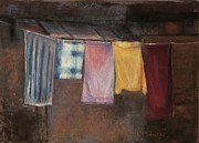 Old Street Pastels Posters - Laundry Day Poster by Cindy Plutnicki