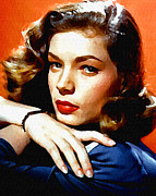 Bacall Framed Prints - Lauren Bacall Framed Print by Allen Glass