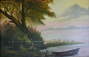 Canoe Painting Posters - Lazy Days of Summer Poster by Peggy Martin