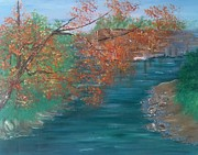 Indiana Autumn Painting Prints - Lazy River Print by Laura Inniger