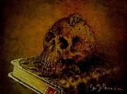 Sepia Chalk Drawings Posters - Le Livre des Morts Poster by Guillaume Bruno