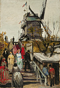 Abstract Impressionism Digital Art Prints - Le Moulin de Blute Fin Print by Vincent VAn Gogh