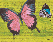 Pink Mixed Media Framed Prints - Le Papillon 2 Framed Print by Debbie DeWitt