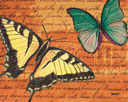 Antique Mixed Media Prints - Le Papillon 3 Print by Debbie DeWitt