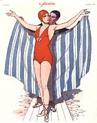 Swimsuits  Swimming Costumes Posters - Le Sourire 1920s France Glamour Poster by The Advertising Archives
