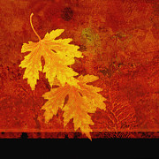 Yellow Leaves Posters - Leaf Collage Poster by Ann Powell