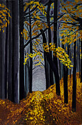Fallen Leaf Painting Posters - Leaf Light Poster by Barbara McMahon
