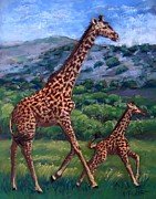 Giraffe Pastels Posters - Learning to High Step Poster by Barbara Richert