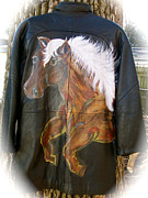 Horses Tapestries - Textiles - Leather Horse Art Jacket by Heather Grieb