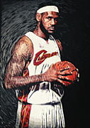 Basketball Abstract Digital Art Posters - Lebron James Poster by Taylan Soyturk