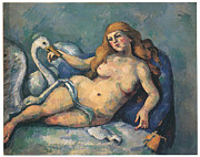 Leda And The Swan Framed Prints - Leda and the Swan Framed Print by Paul Cezanne