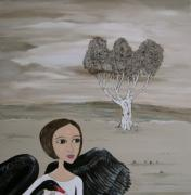 Leda Painting Posters - Leda and the Swan Poster by Sue Wright