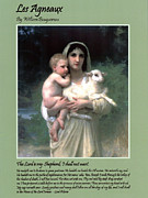 Christ Child Digital Art Prints - Les Agneaux Print by William Bouguereau