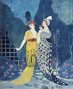 Exotic Drawings Posters - Les Modes Poster by Georges Barbier