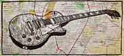 Lino Print Prints - Les Paul on Austin Map Print by William Cauthern