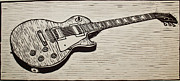 Lino Drawings Posters - Les Paul Poster by William Cauthern