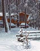 Log Cabin Photos - Let It Snow by Steve Harrington