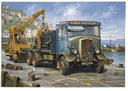1950s Truck Painting Framed Prints - Leyland Hippo at Brixham. Framed Print by Mike  Jeffries
