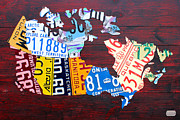 Island Mixed Media Prints - License Plate Map of Canada Print by Design Turnpike