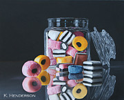 Licorice Painting Prints - Licorice Allsorts by K Henderson Print by K Henderson