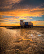 Praia De Faro Prints - Lifeboat Station Sunset Print by Nigel Hamer