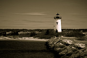 Edgartown Lighthouse Framed Prints - Light in the Dark Framed Print by Maureen Lovell