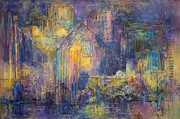 Blurred Paintings - Light Time Over the City by Sharon K Wilson