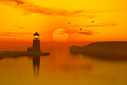 Lighthouse At Sunset Framed Prints - Lighthouse at sunset Framed Print by John Junek
