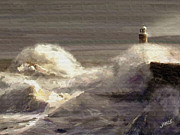 Going Green Prints - Lighthouse in the Storm Print by James Shepherd