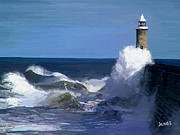 Lighthouse Digital Art - Lighthouse in the Wind by James Shepherd