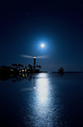Sea Moon Full Moon Photo Posters - Lighthouse Moon Poster by Mark Andrew Thomas