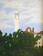 Alcatraz Paintings - Lighthouse of Alcatraz  by J D  Fields 
