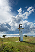 Seashore Pyrography Metal Prints - Lighthouse with beautiful sky Metal Print by Anna Grigorjeva