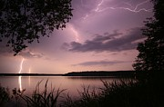 Lightning Prints - Lightning Over the Lake Print by Kevin Sebold