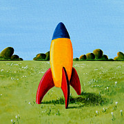Spaceship Painting Posters - Lil Rocket Poster by Cindy Thornton