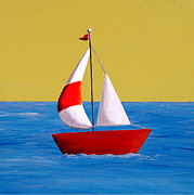 Library Painting Posters - Lil Sailboat Poster by Cindy Thornton
