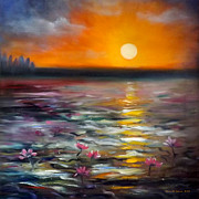 Sunsets Original Paintings - Lily Sunset by Gina De Gorna
