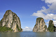 Sami Sarkis Posters - Limestone karst peaks islands in Ha long Bay Poster by Sami Sarkis