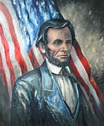Abe Lincoln Paintings - Lincoln Portrait #13 by Daniel W Green
