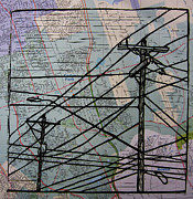 Austin Drawings - Lines on Map by William Cauthern