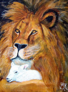 Lion And Lamb Framed Prints - Lion and Lamb Framed Print by Gloria Koch