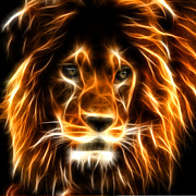 The Tiger Digital Art Metal Prints - Lion  Metal Print by Mark Ashkenazi