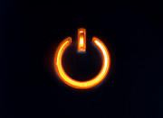 Electronic Photos - Lit Power Button In Orange Color by Jose Elias - Sofia Pereira