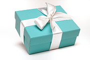 Ribbon Posters - Little Blue Gift Box Poster by Amy Cicconi