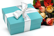 Holiday Photos - Little Blue Gift Box and Flowers by Amy Cicconi